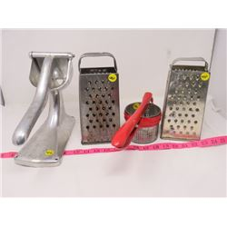 LOT OF 4 (GRATERS, RICER, PRESS)