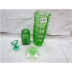 LOT OF 4 PIECES OF GREEN GLASS (VASE, EYEWASH, PEPPER SHAKER, CANDLE HOLDER)