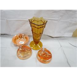 LOT OF 4 PIECES OF GLASS (2 SCOTTY DOG CONTAINERS *LIDS ONLY*, VASE, LUSTER WAVE BOWL)