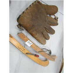 1940S BALL GLOVE AND WOODEN SKATE GAURDS (CCM)