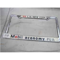 LICENCE PLATE HOLDER ( MOBILE OIL) *1968*
