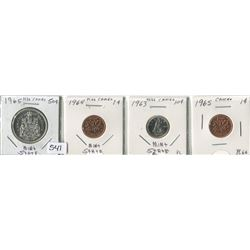 4 CNDN COINS 1963- 10 CENT COIN, 1964- 1 CENT PC, 1965- 1 CENT & 50 CENT PC