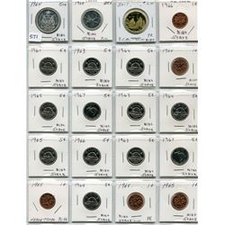 20 CNDN COINS 1 CENT TO 1 DOLLAR, 1764 TO 2017