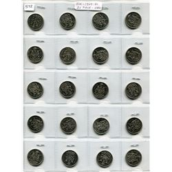 20 CNDN COINS 50 CENT PCS, 1969 TO 1980