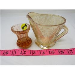 CREAMER AND CANDLE HOLDER (ETCHED GLASS, AMBER)