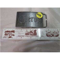 "LOT OF 2 (BELT BUCKLE 'CUERVO' & ADVERTISING 6"" RULER 'NORTHERN WOOD PRESERVERS LTD' 6"")"