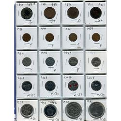 SHEET OF 20 CNDN COINS (1859 LARGE PENNY TO 1982 DOLLAR COIN)