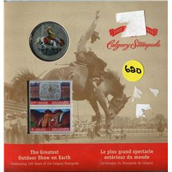 COMMEMERATIVE COIN AND STAMP SET (100 YEARS CALGARY STAMPEDE) *1912-2012