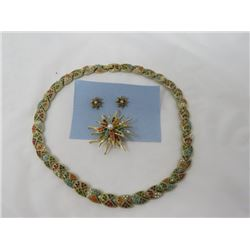 MATCHING SET (D'ORLAN) *NECKLACE, BROOCH, EARRINGS