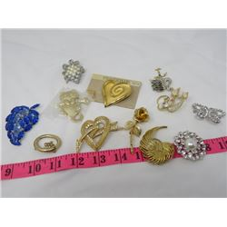LOT OF ASSORTED COSTUME BROOCHES (OVER 10 PCS)