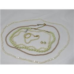 LOT OF PEARL LIKE NECKLACES X4 & EARRINGS