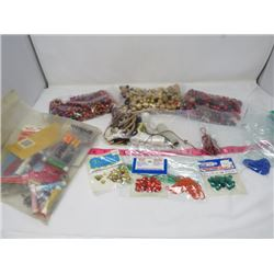LOT OF BEADS, THREADS, SEQUINS, ETC