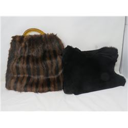 2 FUR MUFF/PURSES (ONE W/HANDLE) *BLACK MUFF IS RUSSIAN SEAL*