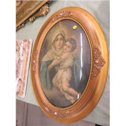 "PRINT (MOTHER/CHILD) *OVAL FRAME W/DOME GLASS* (19"" X 25"") *PICTURE TORN*"