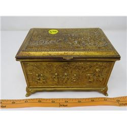"METAL JEWELRY BOX (LINED) *HEAVY METAL 6.5"" X 4.5"" X 4""*"