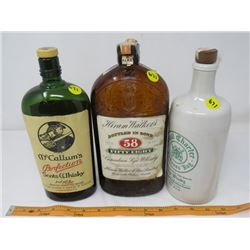3 LIQUOR BOTTLES (ROYAL CHARTER - CERAMIC, MCCALLUMS & HIRAM WALKERS)