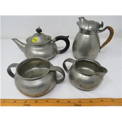 "LOT OF PEWTER TEAWARE (TUDRIC, SOLKETS, HAND NUMBERED-CREAMER ""COSY"" NOT MATCHING) *MADE IN ENGLAND*"