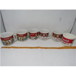 LOT OF 6 SOUP CUPS (CAMPBELLS) *5 CERAMIC, 1 PLASTIC*