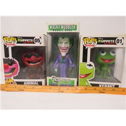 LOT OF 3 POP CULTURE FIGURINES (DISNEY MOST WANTED, FUNKO WACKY WOBBLER JOKER) *N.O.S.*