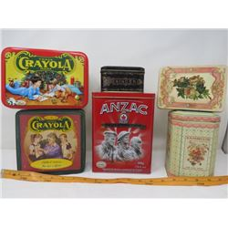 LOT OF 6 ASSORTED COLLECTORS TINS (CRAYOLA, ANZAC, FERRY-MORSE ETC...) *NICE SHAPE*