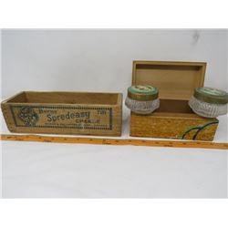 LOT OF 2 WOODEN BOXES (VINTAGE BURNS CHEESE BOX, BOX WITH 2 GLASS CONTAINERS INCLUDED)