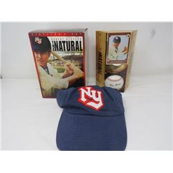 GIFT SET (THE NATURAL STARRING ROBERT REDFORD) *INCLUDES, CARD, BASEBAL HAT, BASEBALL, MISSING DVD*