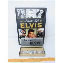 LOT OF 2 ELVIS MEMORABILIA ITEMS ( PRIVATE LIFE OF ELVIS, WERTHEIMER COLLECTION WATCH)