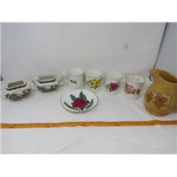 LOT OF ASSORTED TABLEWARE (CUPS, SAUCER AND MILK JUG)