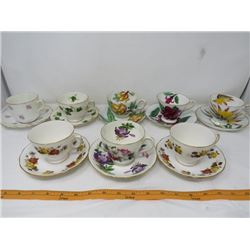 LOT OF 16 ASSORTED CUPS AND SAUCERS (MADE IN ENGLAND)