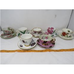 LOT OF 14 ASSORTED CUPS AND SAUCERS (MADE IN ENGLAND)