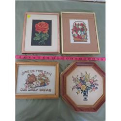 4 PC PICTURES. 3 CROSS STITCH