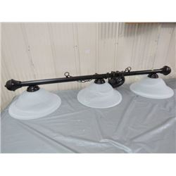 "POOL TABLE LIGHTING (2 FIXTURES, BOTH HANGING) *SHADES 16"" X3, 12"" X 2, 7.5""*"