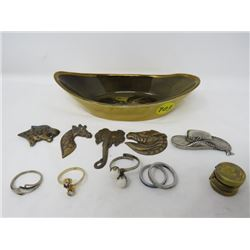 LOT OF ASSORTED BUTTON COVERS, COSTUME JEWELLERY RINGS AND DECORATIVE BOWL) *RIDGEWAYS ENGLAND*