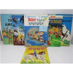 LOT OF COLLECTABLE CHILDRENS BOOKS (FRENCH AND ENGLISH, ASTRIX, TINTIN, ETC...)