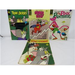 LOT OF 4 COMIC BOOKS (SUPER GOOF, PINK PANTHER, TOM AND JERRY) *VINTAGE, GREAT COLORS*
