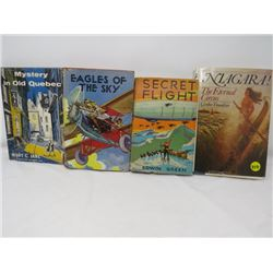 LOT OF 4 HARDCOVER NOVELS  (NIAGRA, SECRET FLIGHT, EAGLES OF THE SKY, MYSTERY IN OLD QUEBEC) *DONALD
