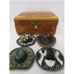 LOT OF SMALL ASSORTED WALL HATS AND WOODEN JEWELERY BOX