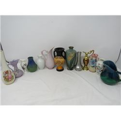 LOT OF 14 SMALL VASES (SOME CERAMIC, SOME METAL)