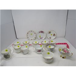 LOT OF 15 ASSORTED DISHES (PARAGON, ROYAL ALBERT, GROSVENOR CHINA ETC...)