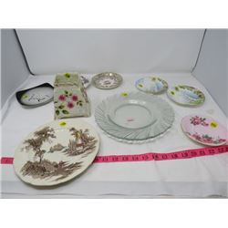 LOT OF 10 PLATES AND SAUCERS (PARAGON, GROSVENOR ETC...)