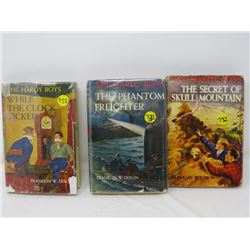 SET OF 3 HARDBACK BOOKS (THE HARDY BOYS) * WHILE THE CLOCK TICKED, THE PHANTOM FREIGHTER, SECRET OF