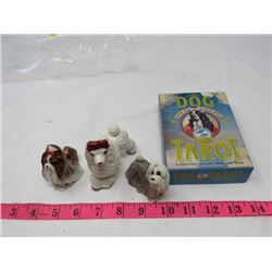 LOT OF FIGURINES  AND DOG TAROT (DOG THEMED LOT)