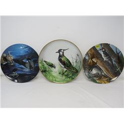 LOT OF 3 WALL PLATES (KNOWLES, BRADEX, LAPWING) *BIRD THEMED*