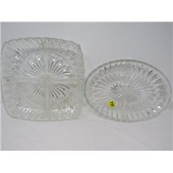 LOT OF 2 SERVING DISHES (CRYSTAL)