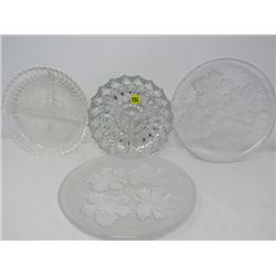 LOT OF 4 SERVING DISHES (CRYSTAL)