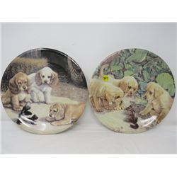 LOT OF 2 DECORATIVE WALL PLATES (DOGS) *HEAVY*