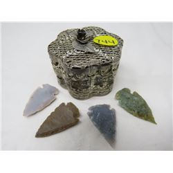 LOT OF 4 SHARP STONES (HAND CHIPPED) *METAL CONTAINER*