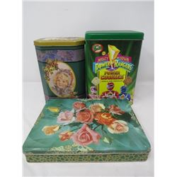 LOT OF 3 DECORATIVE TINS (POWER RANGERS, FLORAL)