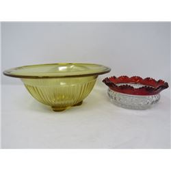 LOT OF 2 DECORATIVE SERVING BOWLS (DEPRESSION GLASS & CRANBERRY GLASS) *CA 1930*