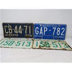 LOT OF 4 LICENCE PLATES (ALBERTA, BC, SASKATCHEWAN) *1964-1970*
